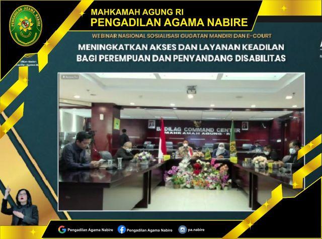 Webinar Sosialisasi Gugatan Mandiri dan e-court, 29-09-2021